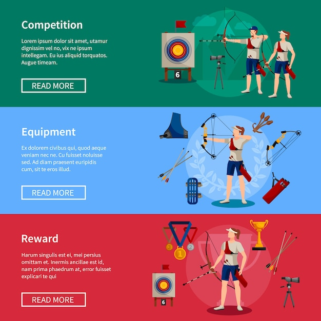 Colorful flat horizontal archery banners with players rewards and necessary equipment Free Vector