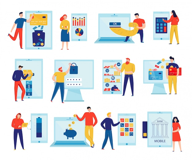 Colorful flat icons set with people paying bills and checking accounts through online banking isolated Free Vector