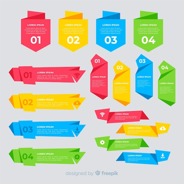 Colorful flat infographic element collection Free Vector