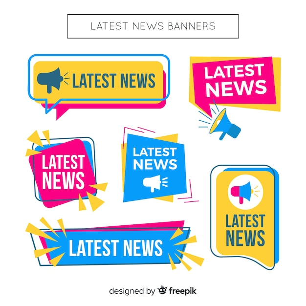 Colorful flat lastest news banner collection Free Vector
