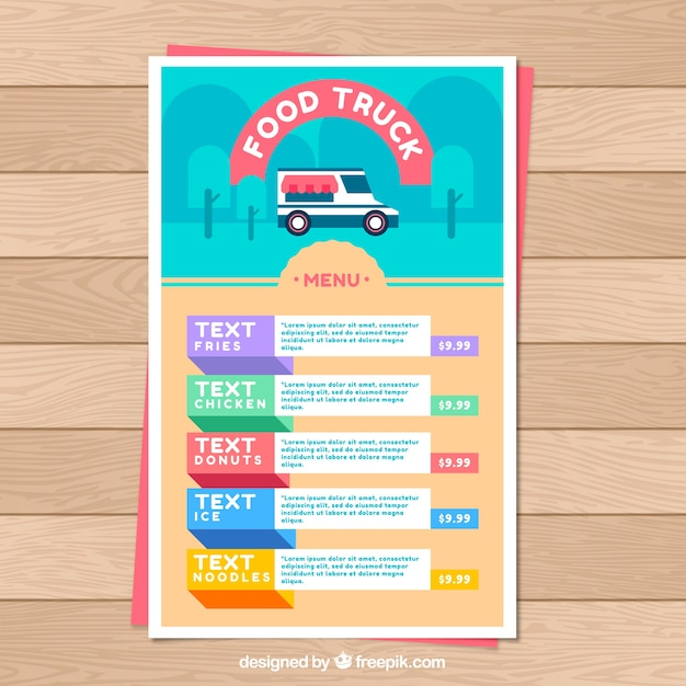 Colorful flat menu for food truck