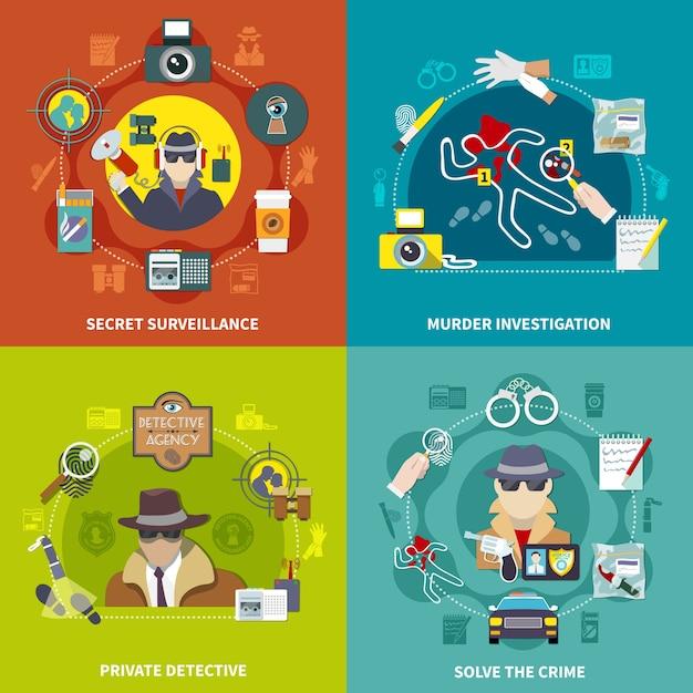 Красочный плоский набор детективной концепции 2x2 иллюстрации с раскрытием преступления, частным детективом, секретным наблюдением и расследованием убийства Бесплатные векторы