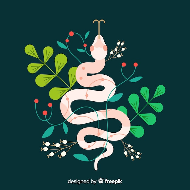 Colorful flat snake illustration Free Vector