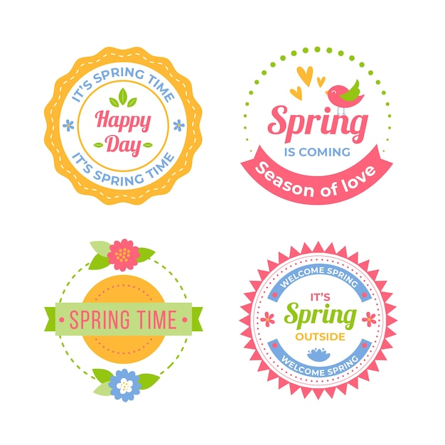 Colorful flat spring badge collection Free Vector