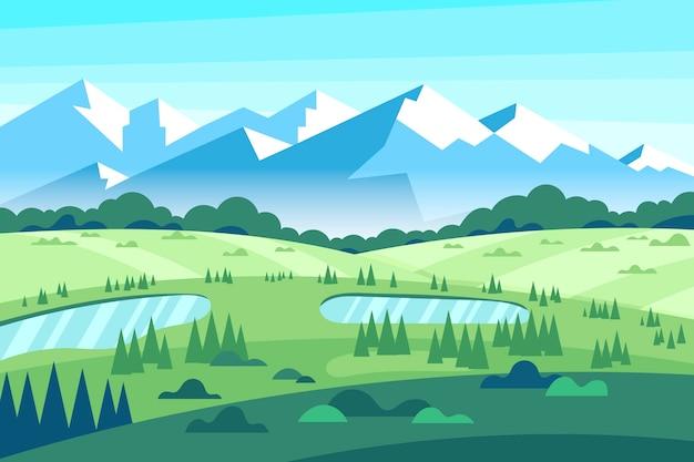 Красочный плоский весенний пейзаж Бесплатные векторы