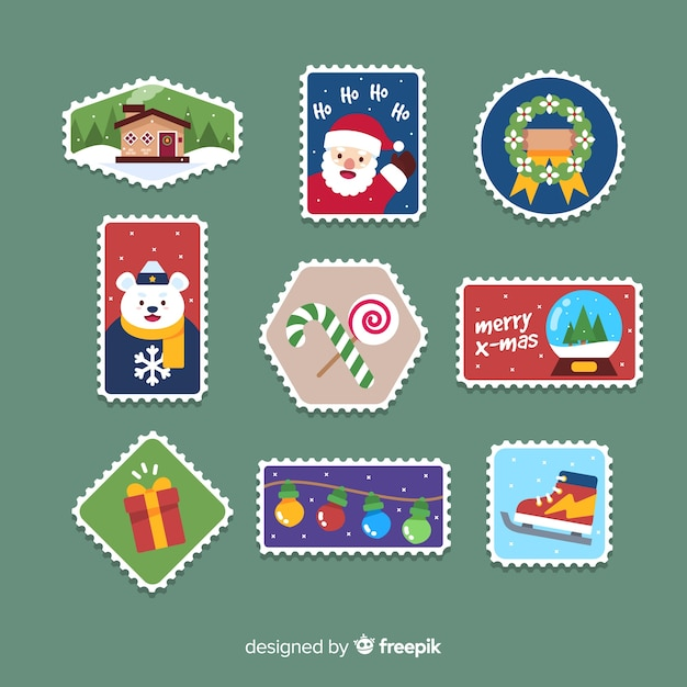 Colorful flat stamp christmas collection Free Vector