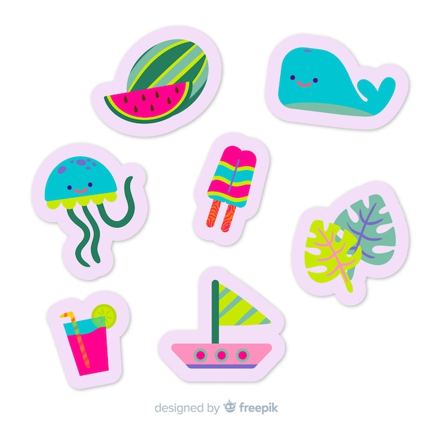Colorful flat summer sticker collection Free Vector
