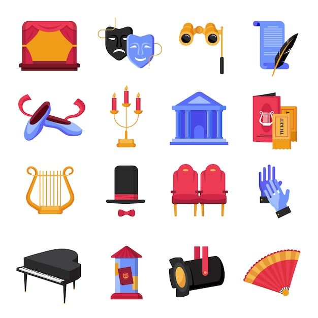 Colorful flat theatre icons set with musical instruments and props Free Vector