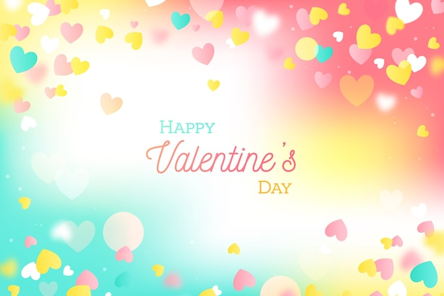 Colorful flat valentine's day background Free Vector