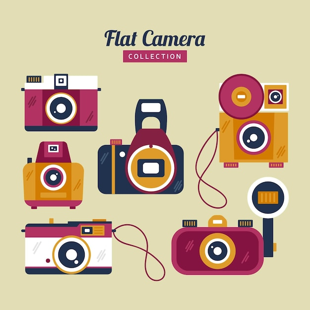 Colorful flat vintage camera collection
