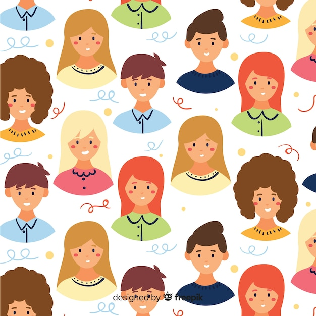 Colorful flat youth people pattern Free Vector