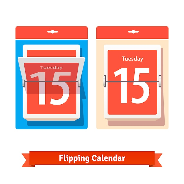 Colorful flipping calendar Free Vector