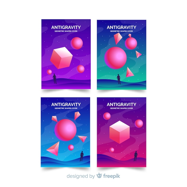 Colorful floating 3d polygon brochure set Free Vector