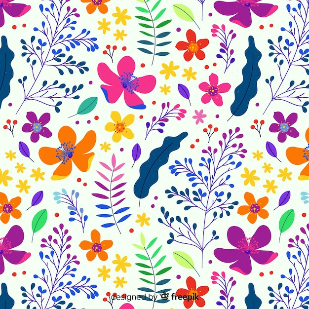 Colorful floral background flat style Free Vector