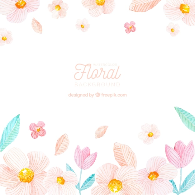 Colorful floral background in watercolor style Free Vector