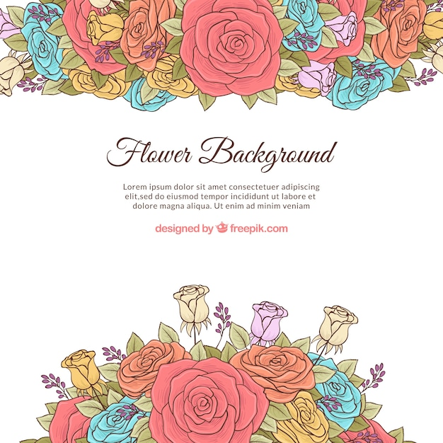 Colorful floral background with hand drawn\ style