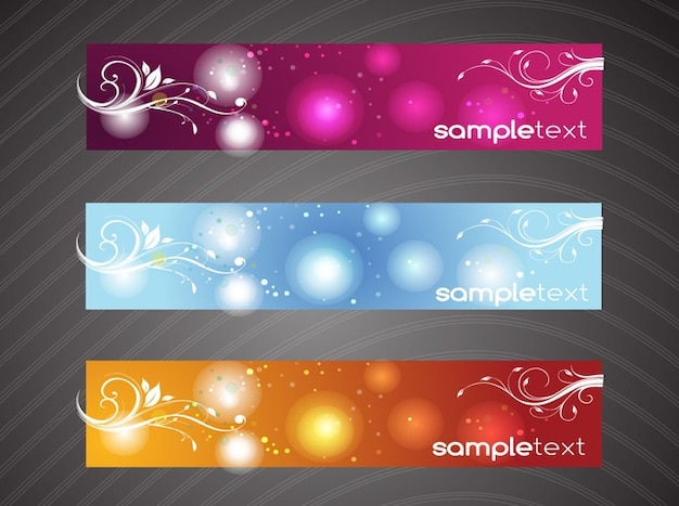 colorful floral banners sample text free vector