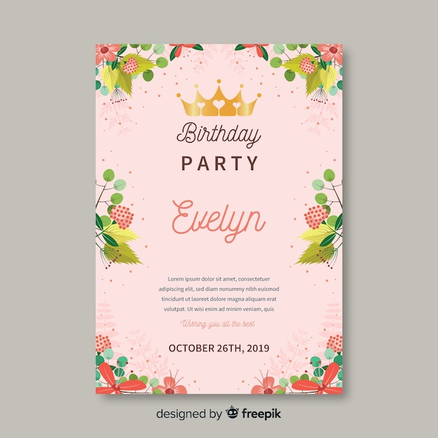 Colorful floral birthday invitation template Vector | Free ...