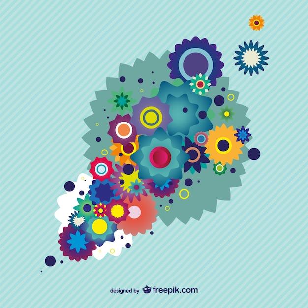 Colorful Floral Design Background Illustrator Vector