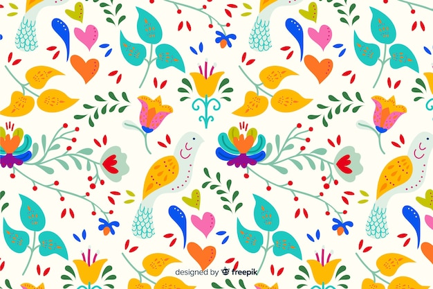 Colorful floral embroidery background Free Vector