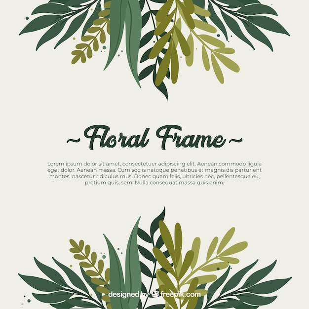 Colorful floral frame in hand drawn style Free Vector