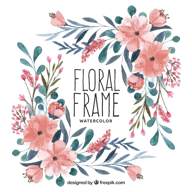 Colorful Floral Frame In Watercolor Style Vector Free
