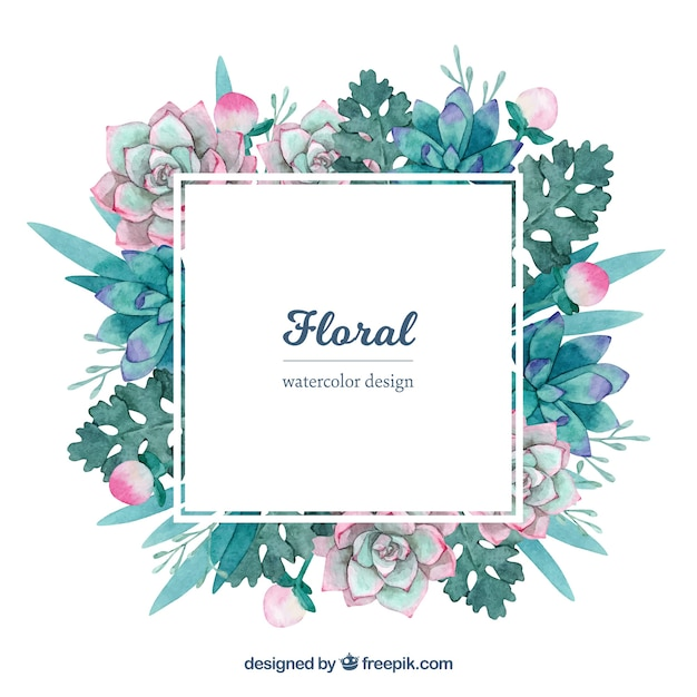 Colorful floral frame in watercolor style Free Vector