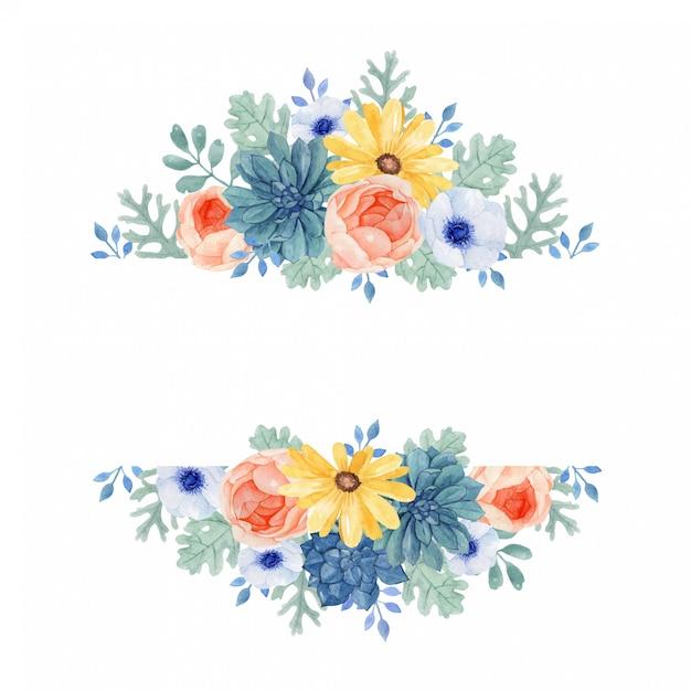 Красочная цветочная рамка с листьями dusry miller, сочные. Premium векторы