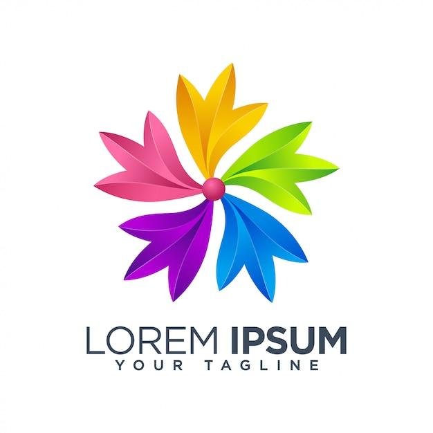 カラフルな花葉のロゴのテンプレート Premiumベクター