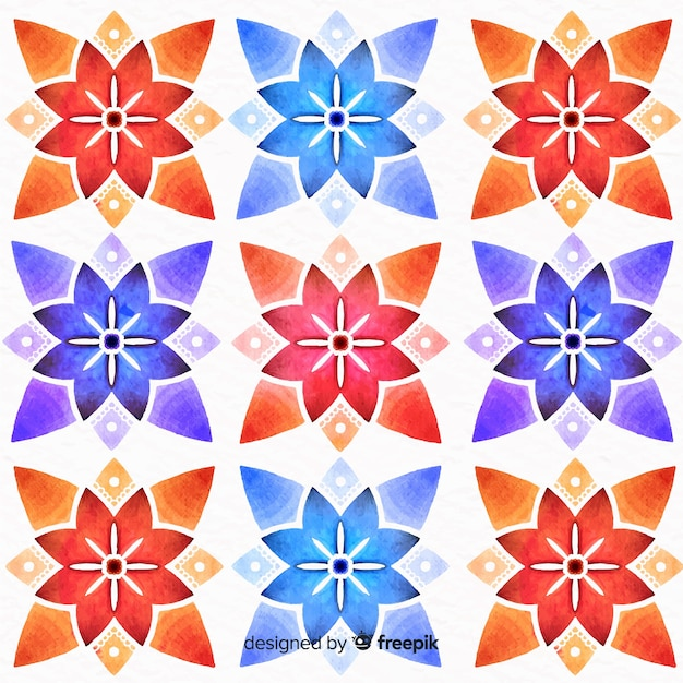 Colorful floral ornament background Free Vector