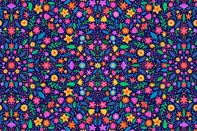 Colorful floral pattern background Free Vector