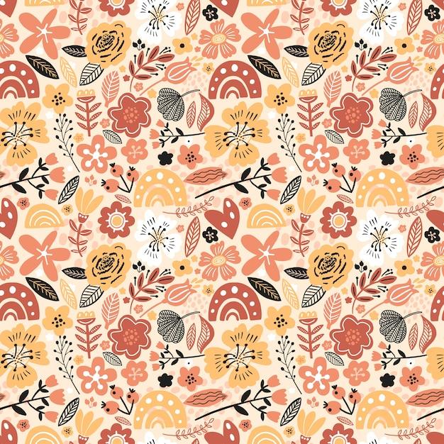 화려한 꽃 원활한 패턴 프리미엄 벡터