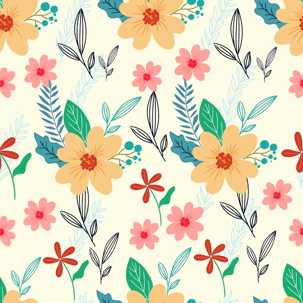 Colorful floral seamless pattern Premium Vector