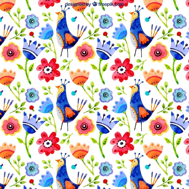 Colorful floral watercolor background of\ birds
