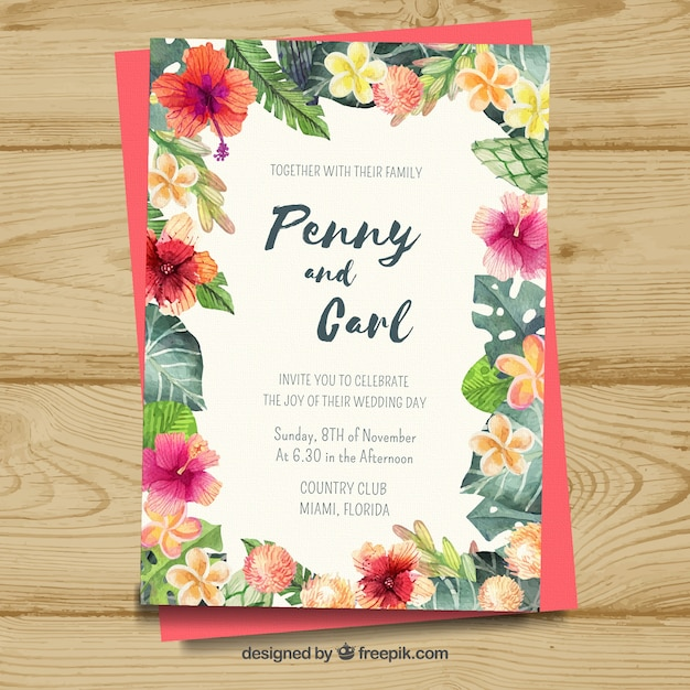 colorful floral wedding card vector free download