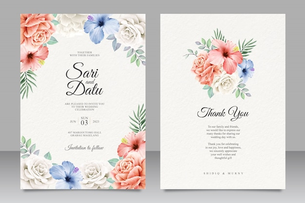 Colorful floral wedding invitation card design Premium Vector