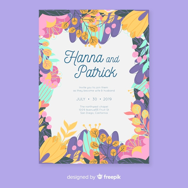 Colorful floral wedding invitation template in flat design Free Vector