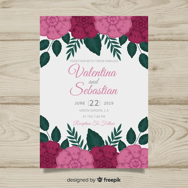 Colorful floral wedding invitation template Vector | Free ...