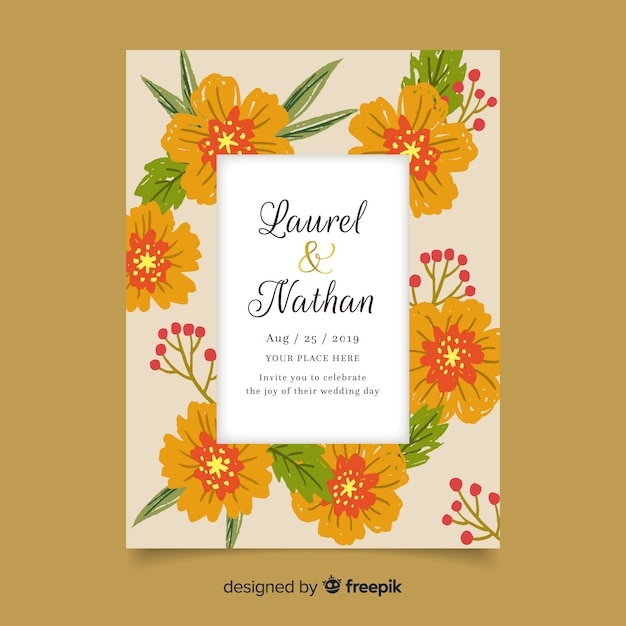 Colorful floral wedding invitation template Free Vector