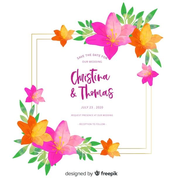 Colorful floral wedding invitation Free Vector