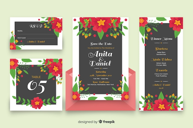 Colorful floral wedding stationery Free Vector
