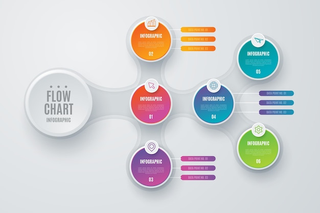 Colorful flow diagram infographic with details Free Vector