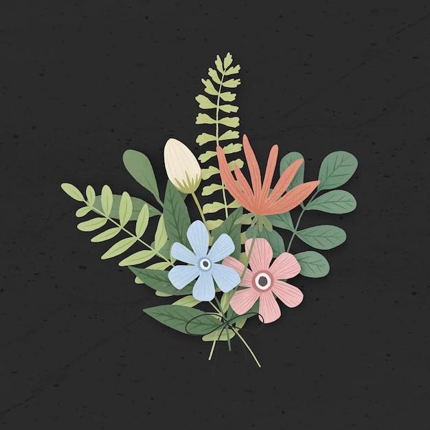 화려한 꽃과 잎 부케 블랙 프리미엄 벡터