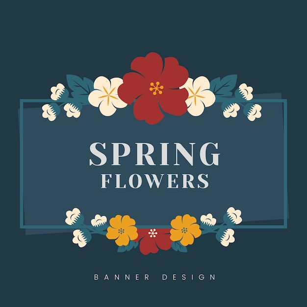 Colorful flower border Free Vector