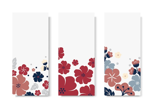 Colorful flower card template set Free Vector