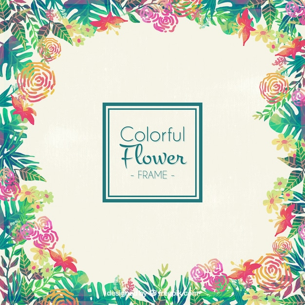 Colorful flower frame Vector | Free Download