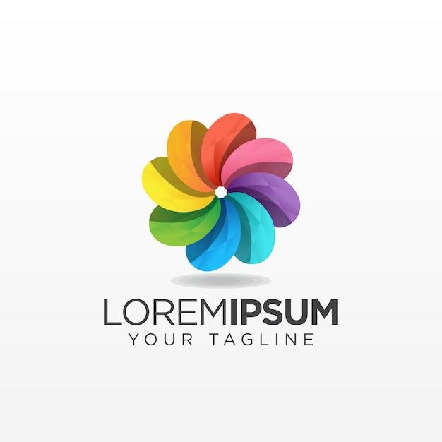 Colorful flower logo Premium Vector