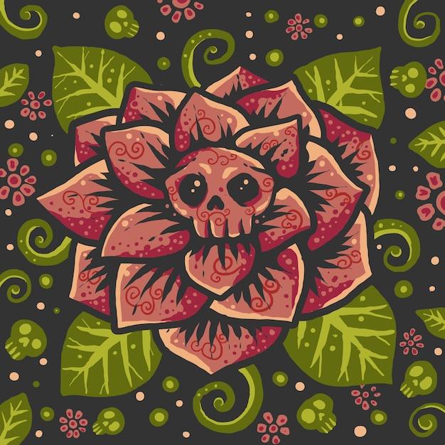 Colorful flower skull pattern backround illustration Premium Vector