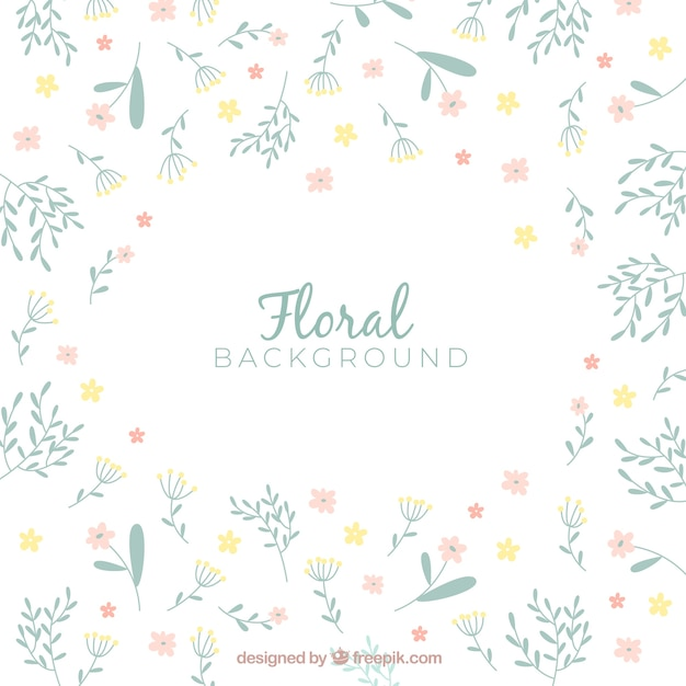 Colorful flowers background in hand drawn style Free Vector