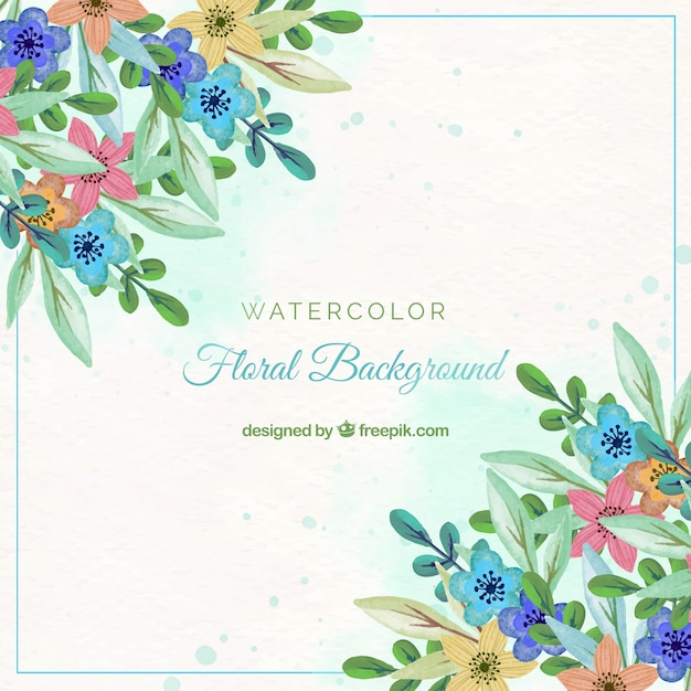 Colorful flowers background in watercolor style Free Vector